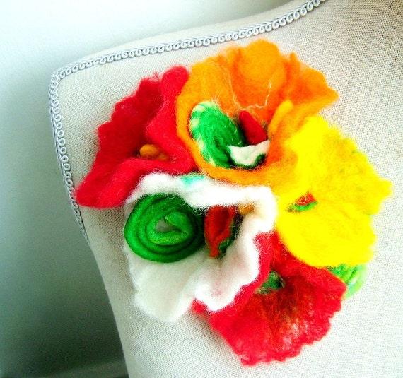 Felt Flower Bouquet - OOAK Brooch