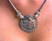 Black Friday Etsy Cyber Monday Etsy Frida Kahlo  Por La Paz oxidized sterling silver art necklace original, free shipping, gift wrap.