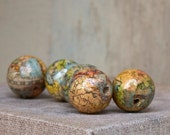 Lot of 5 handmade Old World-One World Beads decoupage copyright, one of a kind