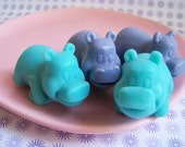 Hippo Soap Lavender Set - Animal Soap, Hippopotamus Soap, Baby Shower Favors, Soap Favors, Lavender Soap, Gift For Her, Hostess Gift, Teen