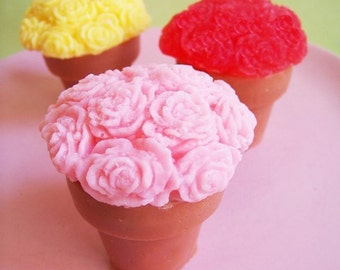 Pretty Flower Soap - Flower Pot Favors, Rose Soap, Gift For Her, Plumeria, Lavender, Gift For Mom, Soap Favors, Soap, Flower Shaped Soap