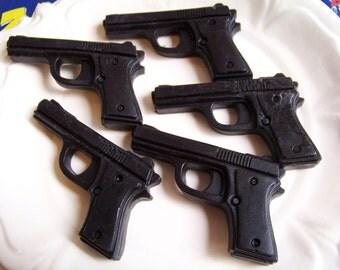Gun Soap Black Cherry Set - Soap Gun, Handgun Soap, Gift for Him, Pistol Soap, Police Soap, Party Favors, Cop Gift, Police Officer, Weapon
