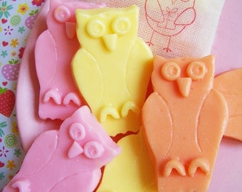 Owl Soap Set - Strawberry Soap, Spring Soap, Gift Set, Housewarming Gift, Gift For Mom, Animal Soap, Gift For Her, Bridesmaid Gift, Fun Soap