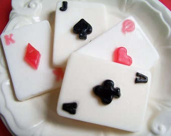 Playing Cards Soap Set - Deck of Cards Soap, Poker Soap, Soap Favors, Vegas Soap, Jackpot Soap, Ace of Spades, Gift For Him, Poker Gift