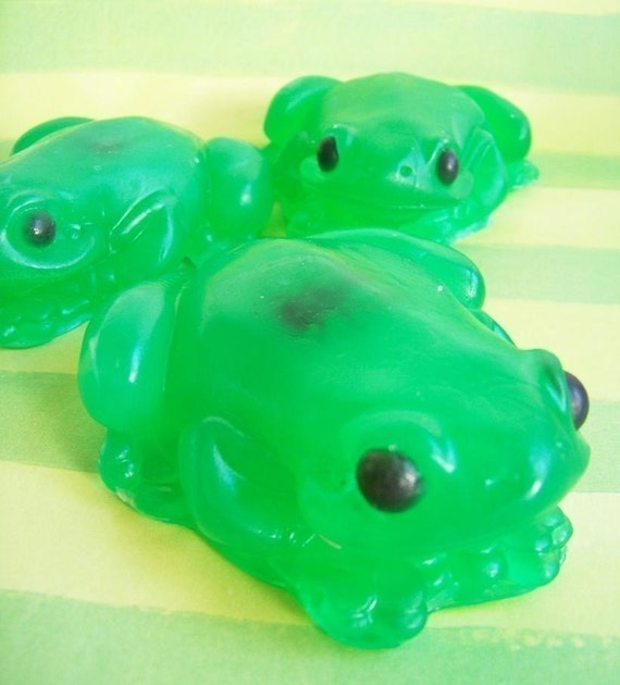 Cucumber Melon Frog Soap - Animal Soap, Kids Soap, Cucumber Melon, Green, Insect, Fly Soap, Novelty Bath, Surprise Inside