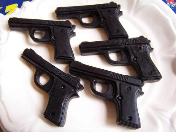 Gun Soap Black Cherry Set - Soap Gun, Handgun Soap, Gift for Him, Pistol Soap, Police Soap, Party Favors, Cop Gift, Police Officer, Weapon