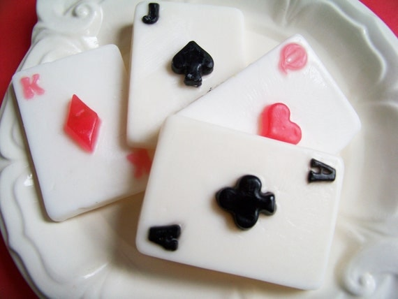 Playing Cards Soap Set - King, Queen, Ace of Spades, Jack, Deck of Cards, Gift For Him, Cherry Scented, Fun Soap, Novelty Soap