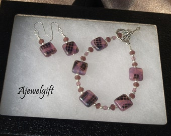 Subtley Sparkling Mauve Bracelet Earring Set 11-006