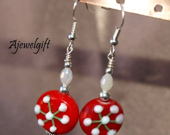 Holiday Glass Disk Earrings  12027