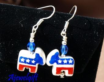 Democratic Patriotic Donkey Earrings 12055