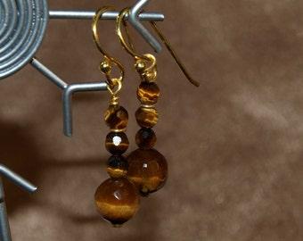 Faceted Tiger Eye Drop Earrings 9001