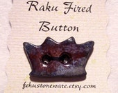 Porcelain Crown Journal button Raku fired