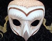 Barn Owl Mask... handmade leather mask