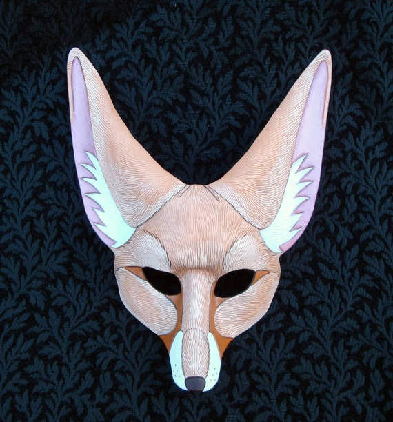 Blond Fennec Fox Mask ...handmade leather fox mask