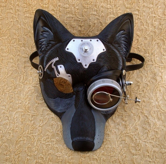 All The Better To See You With' V3... handmade mixed media steampunk wolf mask