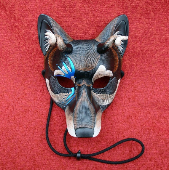 Demon Wolf V1... limited edition handmade leather and mixed media mask