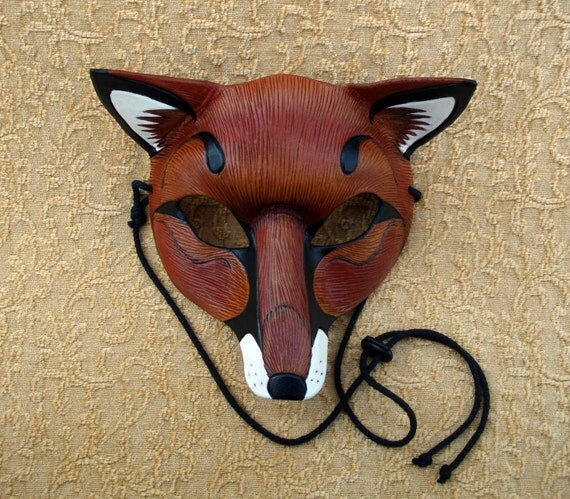 Red Fox Leather Mask ...handmade leather fox mask