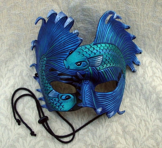 Blue-Green Fighting Bettas ...handmade original leather art mask