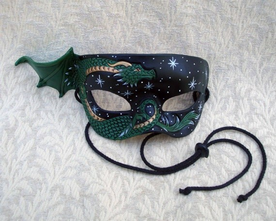 Green and Bronze Dragon Mask... Starry Night.... hand made original leather mask