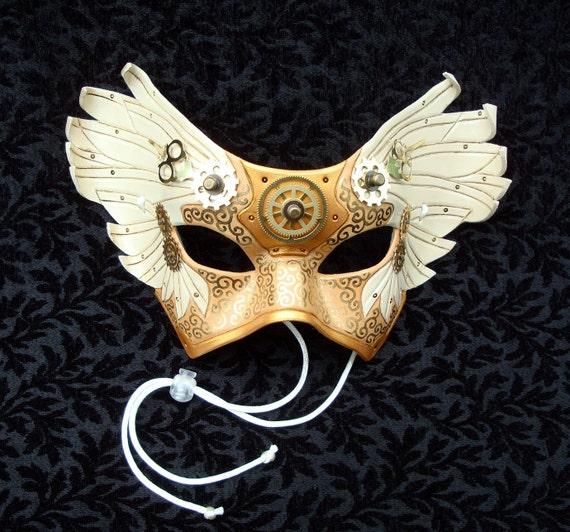Il Tempo Vola V4... original mixed media handmade winged Venetian clockwork mask