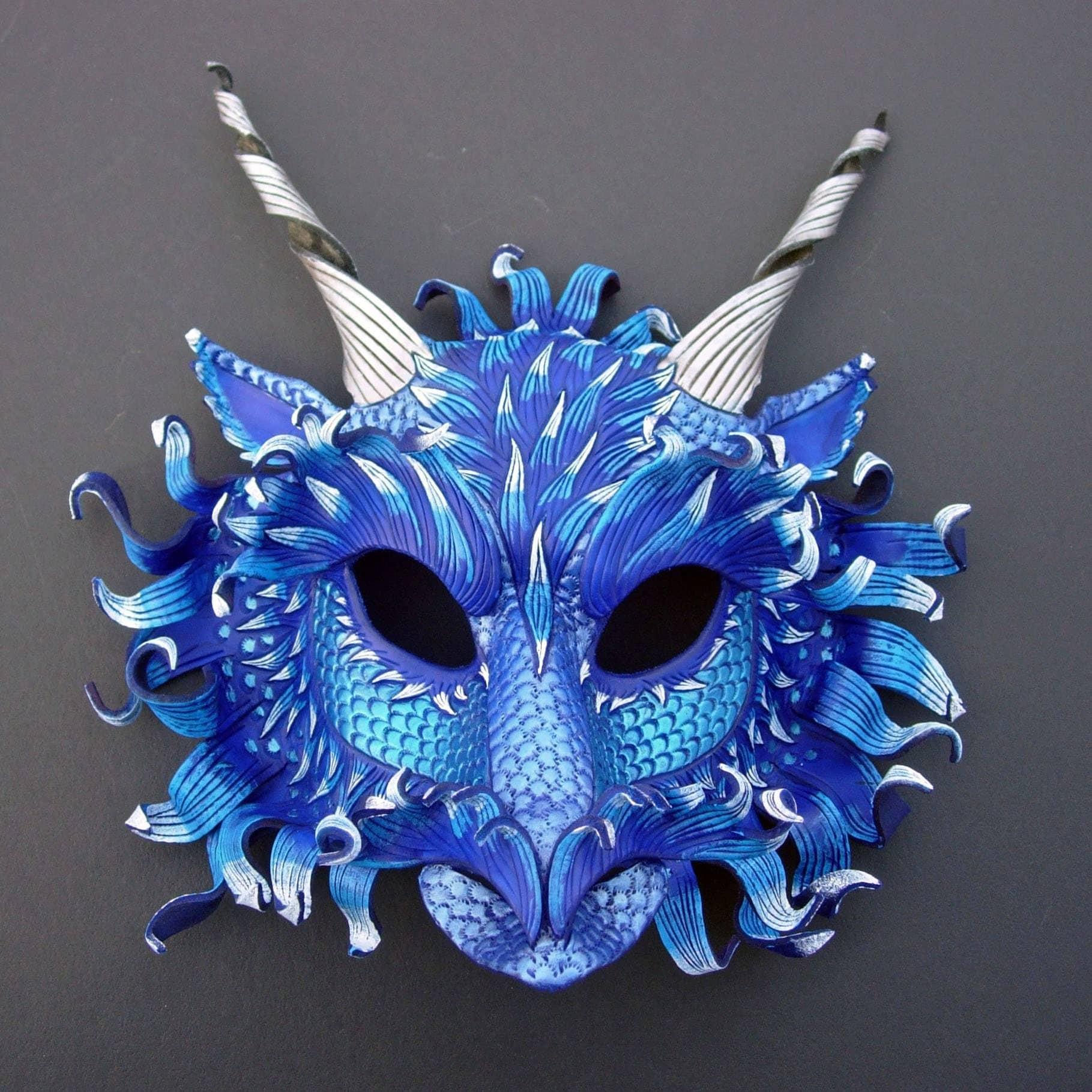 Frost Dragon Mask...handmade custom leather mask