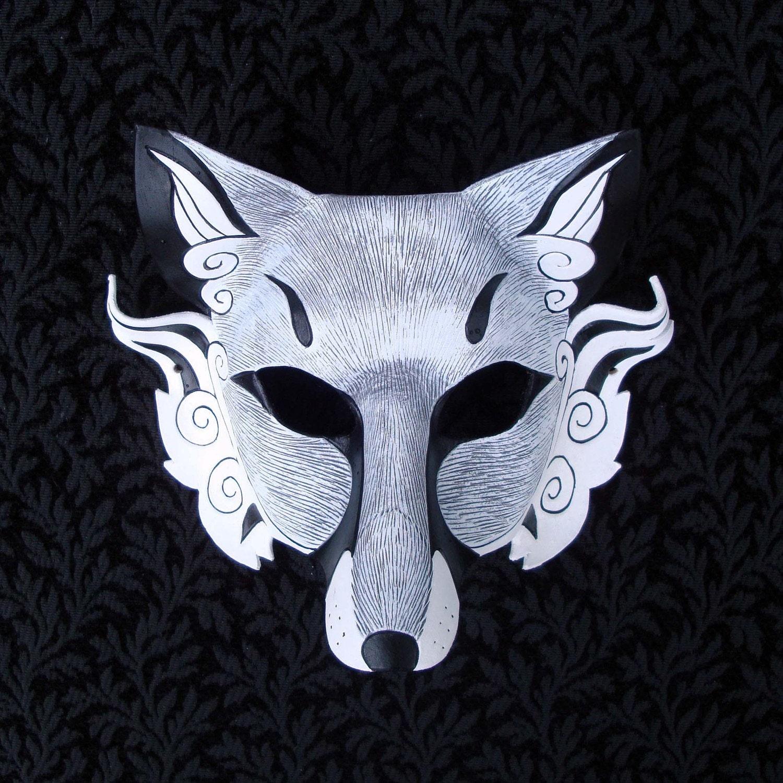 white japanese fox mask inari handmade leather fox mask. Black Bedroom Furniture Sets. Home Design Ideas