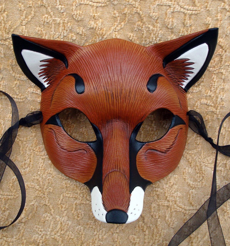 red fox mask handmade leather fox mask. Black Bedroom Furniture Sets. Home Design Ideas