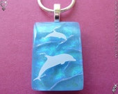 Dolphin Dance  - Dichroic Glass Pendant w/ necklace