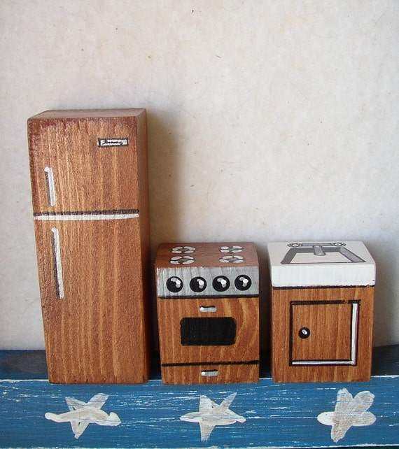 Miniature Dollhouse Furniture Refrigerator Stove And Sink