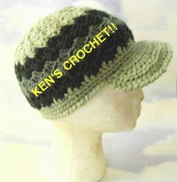 Slanted Shell Stitch Brimmed Cap-Digital Download PDF Pattern only