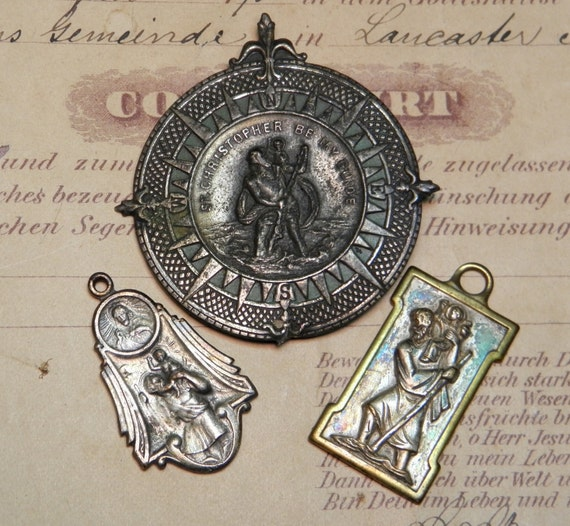 Vintage Saint Christopher Dashboard Medal and Others