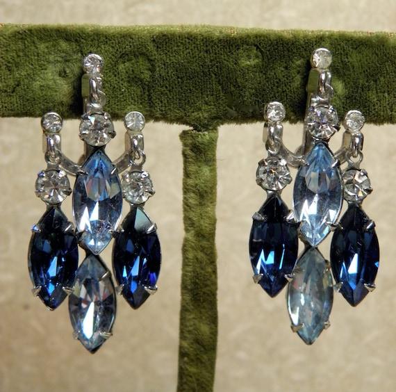 Vintage Rhinestone Earrings Drippy Dangles Screw On