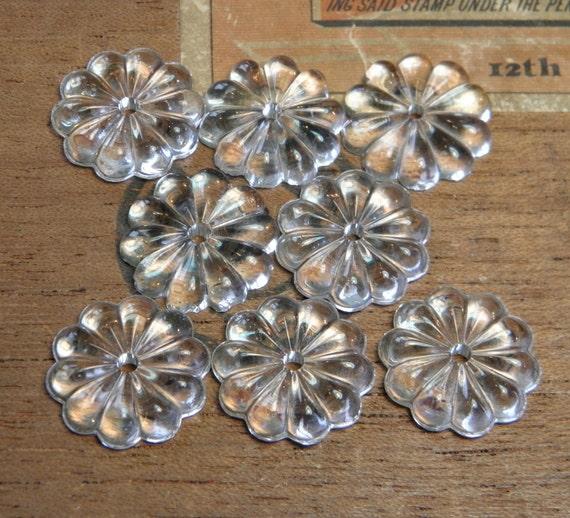 Vintage Chandelier Glass Flatback Flower Shaped Findings
