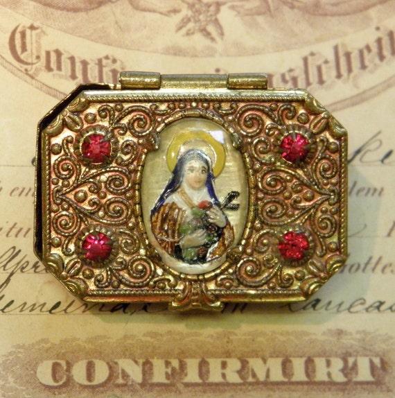 Vintage Rosary Box Intaglio Mary Cabochon