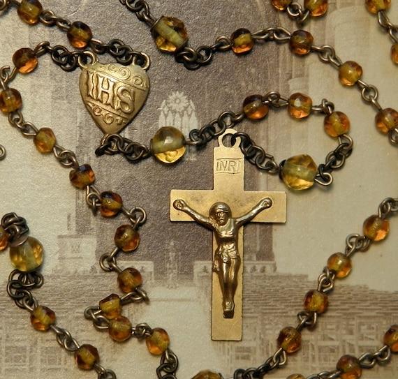 Vintage Topaz Glass Rosary