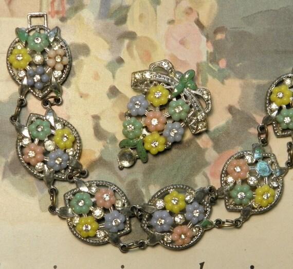 Vintage Bracelet Dress Clip Pastel Flowers Rhinestone Pot Metal