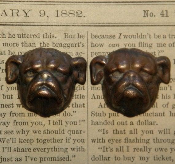Vintage Brass Stampings Pug Heads