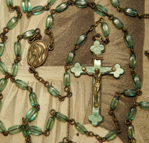Vintage Green Glass Rosary Celluloid Metal Cross