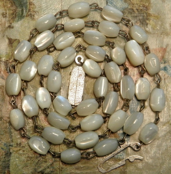 Vintage Mother of Pearl Rosary Chain Necklace