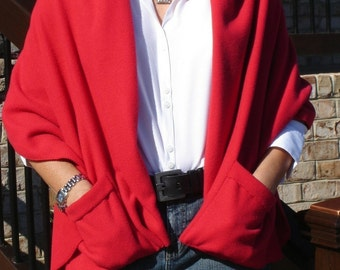Warm Cozy Shoulder Fleece Wrap with pockets