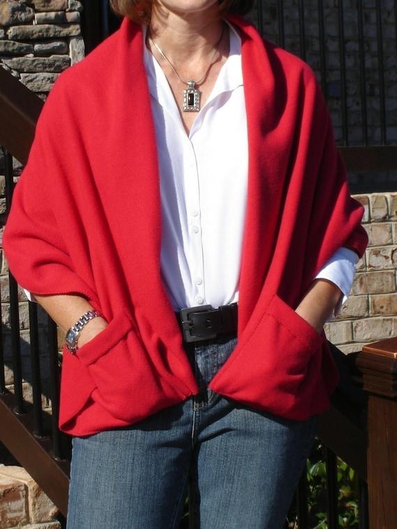 Warm Cozy Shoulder Fleece Wrap With Pockets By Vintageamys