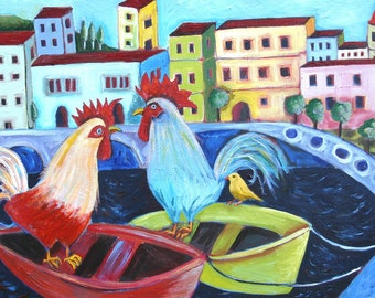 Roosters at Cinque Terre Art Print