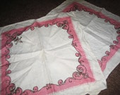 Set of Two Vintage Linen Napkins - Pink and Brown