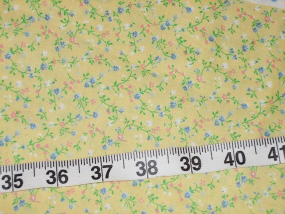 Charming Vintage Fabric - Cranston Print Works Calico Print  - Yellow Floral - One Yard
