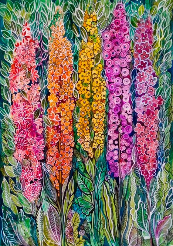 Wild flowers-print from my original watercolor by Tatiana Oles