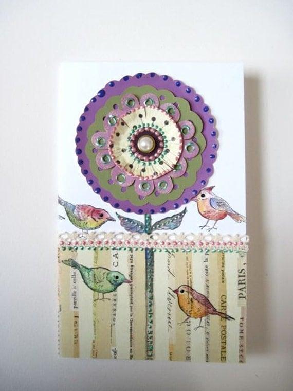 """Original Spring card with birds 5""""x 8"""""""