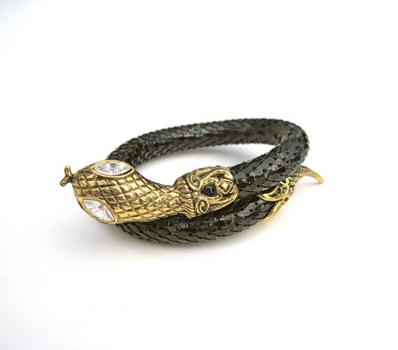 Vintage Black mesh Snake wrap cuff bracelet