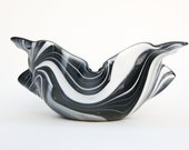 Black and White Fused Glass Draped Bowl