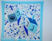 Blue Fused Glass Dreidel Plate