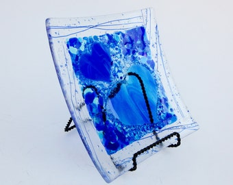 Blue fused glass frit heart plate  7.75 x 7.75